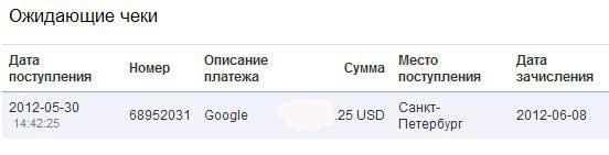 поступление чека от google